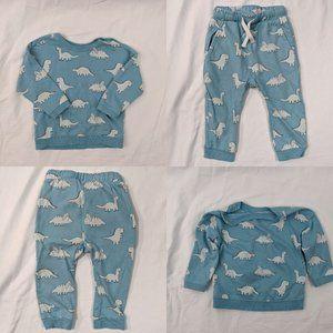 H&M 2pc Blue & White Dino Sweatsuit Sz 9-12mths